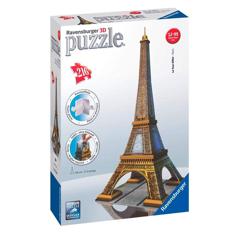 ravensburger puzzle 3d tour eiffel paris 216 piezas 44 cm. Black Bedroom Furniture Sets. Home Design Ideas