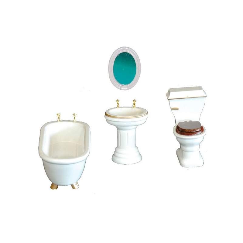 Juego muebles ba o de madera 1 12 para casa de mu ecas for Productos de bano
