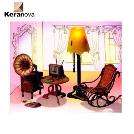 Sala de estar con accesorios de carton para casas de - Accesorios para casa de munecas ...