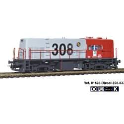Locomotora diesel 308-027 DC H0 Mabar,con logotipo CARGAS RENFE, inscripciones en blanco y barandillas color rojo