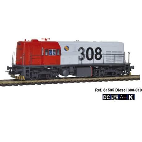 Locomotora diesel 308-019 DC H0 Mabar,con logotipo CARGAS RENFE, con inscripciones y barandillas color negro