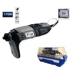 Taladro 170w con 190 accesorios, con caja transparente y alargador flexible