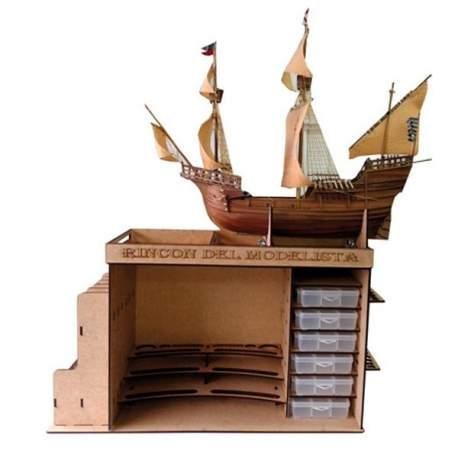 El Rincon del Modelista. Mueble taller portatil Disarmodel con soporte para cascos modelismo naval
