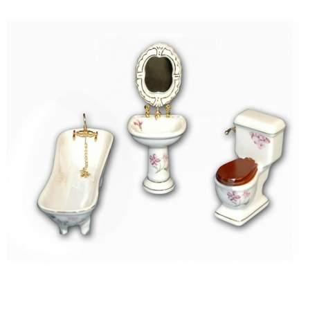 Baño porcelana Jazmin 1:12 para casa de muñecas