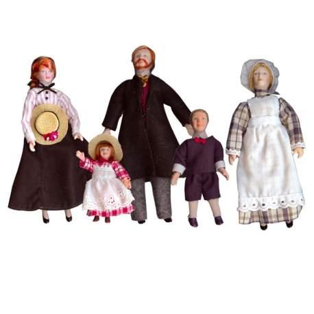 Familia 5 personajes de porcelana A 1:12
