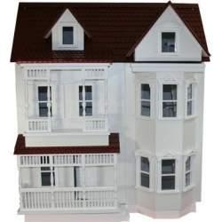 Casa de muñecas Dover 1:12 Old Bridge semimontada blanca tejado marron rojizo