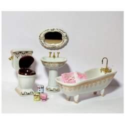 Baño de porcelana para casa de muñecas