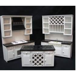Cocina para casa de muñecas blanca