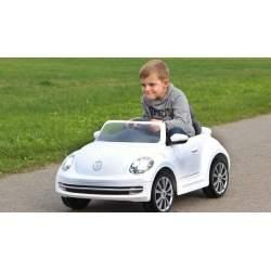 Coche con bateria y mando para padres Ride-on VW Beetle white 27MHz 6V Jamara