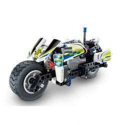 Construcción de bloques-Moto de Policía Pull Back 193 pcs