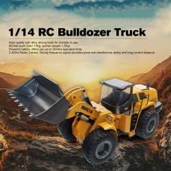 RETROEXCAVADORA RC Bulldozer 1/14 de metal Profesional, 10 CANALES