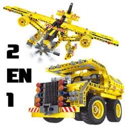 Construcción de bloques 2 en 1 Dumper y Avión 361pcs