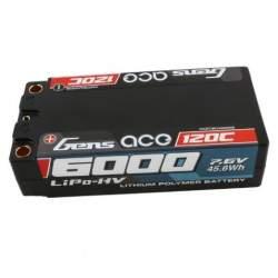 Batería de lipo Gens ace 6000mAh 7.6V High Voltage 120C 2S2P Carcasa dura