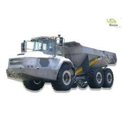 Camión Dumper 6x6 de acero inoxidable con sistema hidráulico y accionamiento.