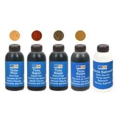 Pack de tintes y barniz satinado acrilico