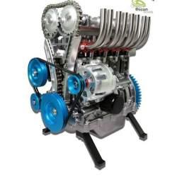 Motor, kit 1/3 en metal de 4 cilindros gris, Thicon-Models