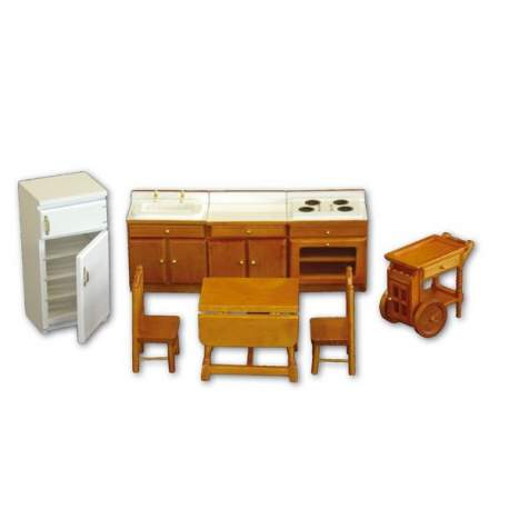 Cocina de madera 1:12 para casa de muñecas