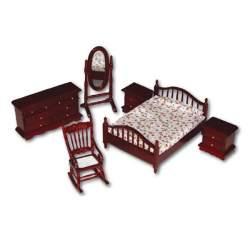 Dormitorio colonial 1:12 para casa de muñecas