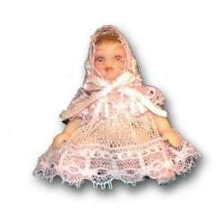Bebé porcelana vestido rosa 1:12 para casas de muñecas