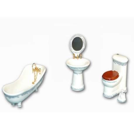 Baño de porcelana Azucena 1:12 para casas de muñecas