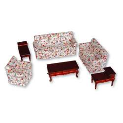 Sala de estar tapizada 1:12 para casa de muñecas