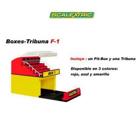 Boxex Tribuna F1 Scalectrix. Pit-box y Tribuna
