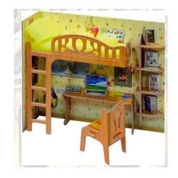 Escritorio escolar en miniatura de carton para casas de muñecas. Clever Paper Keranova
