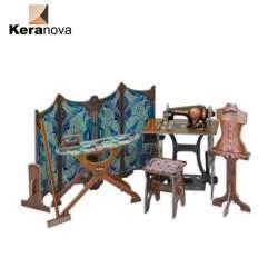 Cuarto de coser en miniatura de carton para casas de muñecas. Clever Paper Keranova