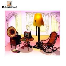 Sala de estar con accesorios de carton para casas de muñecas. Clever Paper Keranova