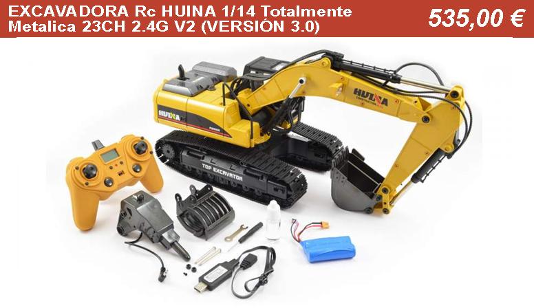 EXCAVADORA Rc HUINA 1/14 Totalmente Metalica 23CH 2.4G V2 (VERSIÓN 3.0)